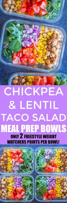These Chickpea and Lentil Taco Salad Meal Prep Bowls are so colorful and healthy! They're so easy to make and Each bowl only has 2 Freestyle Weight Watchers points! Make them on Sunday and have a healthy vegetarian lunch all week long! Vegetarian Meal Prep, Vegetarian Recipes, Veggie Recipes, Lunch Recipes, Dressings, Fitness Meal Prep, Lentil Tacos, Quinoa Salat, Prepped Lunches