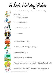 Summer task list for kids