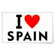 I love Spain country like heart travel tourism Rectangular Sticker - #customizable create your own personalize diy