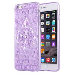 [$0.95] For iPhone 6 & 6s Diamond Encrusted Soft TPU Protective Case Back Cover(Purple)