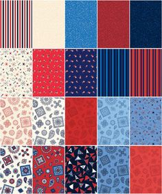 5 Yard Fabric Fat Quarter Medley Hometown Summer Flags Patriotic American Flags - product images  of