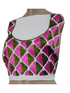 Phulkari Blouse Phulkari Blouse Superfine quality Glace Silk cloth is Hand embroidered with Resham thread Unstitched metrial One Meter Front & Back Same Embroidery Dry Clean Embordery Width 20.5 Inch, Embroidery Height 13 Inch, Neck 6.5 Inches Shop Now : http://www.jankiphulkari.com/phulkari-blouse-jbs1019