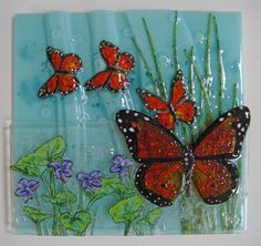 Flutter-By - Monarch And Violets - Delphi Stained Glass