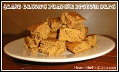 Clean Eat Recipe :: @Jamie Wise Eason's Pumpkin Protein Bars #eatclean #cleaneating #heandsheeatclean #proteinbar #protein #recipe