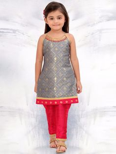 Shop Exclusive grey festive wear raw silk salwar suit online from India. Kids Dress Wear, Kids Gown, Kids Wear, Girls Frock Design, Baby Dress Design, Baby Frocks Designs, Kids Frocks Design, Frocks For Girls, Little Girl Dresses