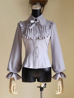 Classic Lolita Blouses Bow Ruffle Balloon Sleeve Lace Up Lolita Shirt