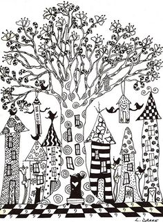 Zentangle of a tree and houses.