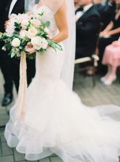 Wedding Dress: Monique Lhuillier - http://www.stylemepretty.com/portfolio/monique-lluhillier Photography: Annie Parish Photography - annieparishphotography.com   Read More on SMP: http://www.stylemepretty.com/2016/04/20/a-whirlwind-hometown-wedding-filled-with-heart/
