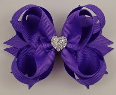 Delphinium Purple (Offray #464) Stacked Boutique Hair Bow with Sparkly Heart~ Gift for Her~ Gift for Child~ Photo Prop~ Birthday Bow by GhinesCreations on Etsy