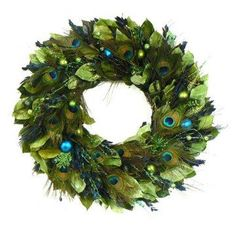 Peacock Wreath On A Turquoise Door - this would fit my scheme.