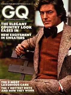 Vintage GQ Cover: he looks like he's being attacked by a vampire butterfly, tho'.