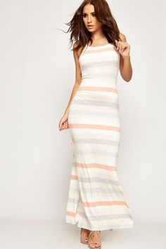 Lucy Striped Sleeveless Bodycon Maxi Dress