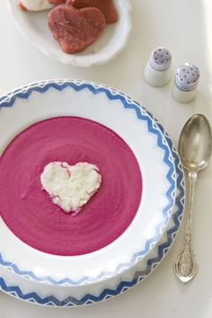 Valentines soup.  Root soup & polenta recipe.  Make with heart-shaped rice.