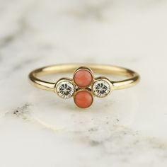 Handmade Diamond And Coral Bezel Set Cluster Ring In 14k Yellow Or White Gold
