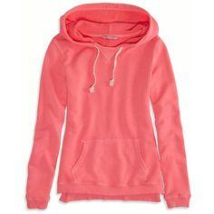 AE Hooded Sweatshirt ($30) ❤ liked on Polyvore featuring tops, hoodies, sweatshirt, pink boom, hoodie top, red hooded sweatshirt, hooded tops, pink top and hooded pullover