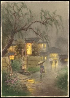 Fukutaro Terauchi (Japanese 1891-?) ~ Night Rain
