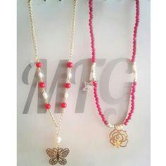 Coral, perlas cultivadas, jade, goldfilled.