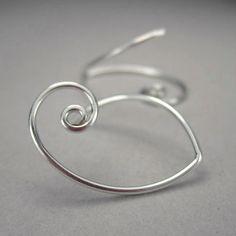 Curly earrings in sterling silver, minimalist silver earrings, for add on interchangeable charms