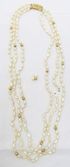 shopgoodwill.com: Rice Pearls w/ 14K Yellow Gold Necklace
