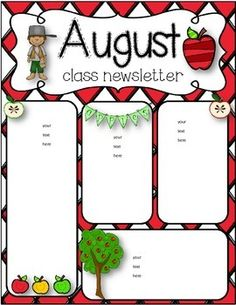 I added August and September newsletters together. I know some schools start in August, so I wanted to make the back to school for both. I hope you loves them and your class enjoys using them. Class Newsletter, Monthly Newsletter Template, Preschool Newsletter Templates, Newsletter Ideas, Weekly Newsletter, Preschool Assessment Forms, Teaching Kindergarten, Teaching Resources, Teaching Ideas