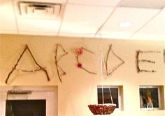 Reggio Emilia: The Alphabet - an alphabet frieze with twig letters made by the class. Beautiful!