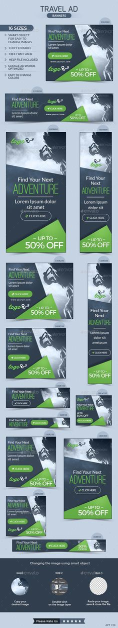Travel Banners Template #webbanners #ads #design Download: http://graphicriver.net/item/travel-banners/12009790?ref=ksioks