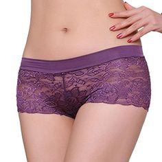 Sous-vêtements sexy femme, FeiTong Les femmes respirant Confort culotte en dentelle transparente (Violet)