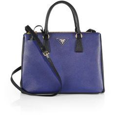 Prada Saffiano Lux Two-Tone Double-Zip Leather Tote ($2,350) ❤ liked on Polyvore featuring bags, handbags, tote bags, apparel & accessories, blue leather handbag, genuine leather tote, blue leather purse, prada tote bag and structured tote bag