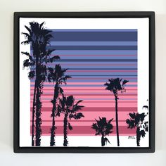 "Overflow series: ""Palm Trees"" 24 x 24 inch, digital art & gloss and matte gel on stretched canvas. 26.5 x 26.5 inch, float frame - black flat. ---------------------------------------- #popart #popartist #digitalart #contemporaryart #colorfield #abstractart #gloss #matte #art #canvas #jonsavagegallery"