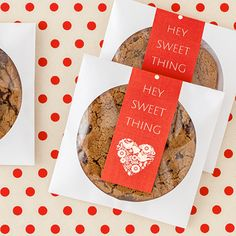 Such a cute way to wrap up a cookie for your Valentine! Just grab an empty CD sleeve, slide in your cookie and print a personalized label for the seal. This was made using Avery Wraparound Labels (80506) and their free printable Valentine's templates. Love it!