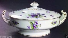 Fine China Of Japan Boutonniere Purple Violets Gold Trim Round Covered Vegetable sold