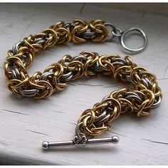 Byzantine Chainmaille Bracelet, Bronze & Stainless Steel