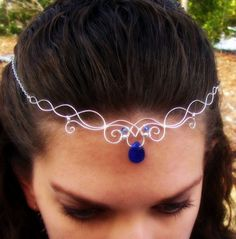 Elven Circlet Necklace - Silver Wire Wrapped with Blue Quartz - Elvish, Celtic, Medieval, LOTR, LARP - Aquarië wedding idea