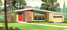 Know Your Home: Mid-Century Modern Style | West | South Mcm House, House 2, Mid Century Exterior, Suburban House, Modern Exterior, Ranch Exterior, Exterior Paint, Exterior Design, House Built