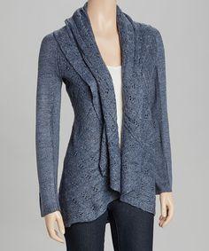 Look what I found on #zulily! Blue Crochet Shawl Collar Open Cardigan by By Design #zulilyfinds