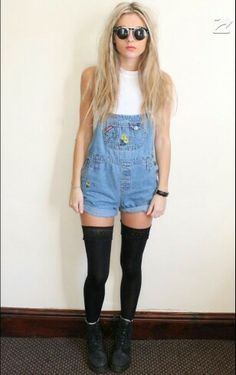 Overalls+thigh highs=yes Knee High Stockings, Overalls, Dungarees, Playing Dress Up, Overall Shorts, Preppy, Fashion Beauty, Latest Trends, Cute Outfits