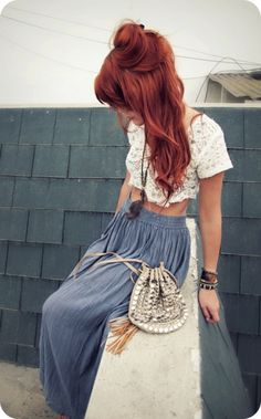 love red-copper hair maxi skirt crop top hippie vibe