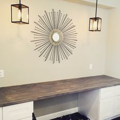 DIY Built-In Desk using Ikea butcher block and Home Depot desk height cabinets.  Pendent lights from Lowes.