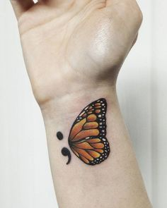 Semicolon Tattoos Guide: What does a semicolon tattoo mean? Get the best unique heart or butterfly semicolon tattoos ideas for wrists, finger, and hands. ideas unique 37 Unique Semicolon Tattoo Ideas and Placement - Piercings Models Semicolon Butterfly Tattoo, Semicolon Tattoo Meaning, Monarch Butterfly Tattoo, Unique Semicolon Tattoos, Butterfly Tattoo Designs, Symbolic Tattoos, Butterfly Art, Tattoo Designs For Wrist, Semicolon Tattoo Placement