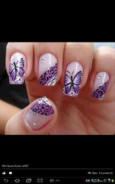 Purple Butterfly Nail design.... to cute!!!