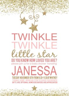 Twinkle little star invite, baby shower, birthday party Custom Digital Download