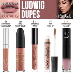As requested, I have began duping Kat Von D's new Spring '17 Everlasting Liquid Lipsticks! The first one up on the list is #LUDWIG dupes! More details and swatches are on http://allintheblush.com  Which shade would you like to see duped next?! #allintheblush #