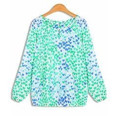 39,90EUR Bluse mit blauen und grünen Herzen Chiffon Hearts