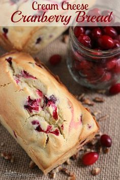 Cream Cheese Cranberry Bread Recipe ~ Amazingly Soft and Tender Quick Bread Stuffed with Tart Cranberries! on MyRecipeMagic.com