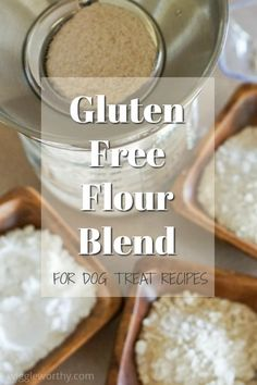 How to make your own dog treat gluten free flour blend. Best flour choices, ratios, binding options and more. Gluten Free Treats, Gluten Free Flour, Gluten Free Baking, Dog Treat Recipes, Dog Food Recipes, Difficulty Swallowing Food, Dog Treat Toys, Homemade Dog Treats, Dog Eating