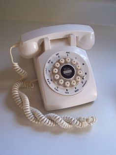 White Rotary Push Button Telephone Crosley Faux Rotary by msink, $16.00 Upstairs Hallway, Vintage Phones, Old Phone, Off White Color, Rotary, Landline Phone, Pure Products, Button, Table