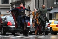Actors Benedict Cumberbatch and Chiwetel Ejiofor are spotted in full costume filming scenes for the latest Marvel superhero movie, 'Doctor Strange' in New York City, New York on April 2, 2106.