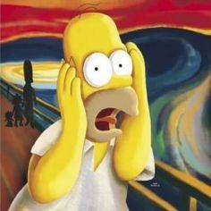 Simpsons (Homer - The Scream) Cartoon Poster Edvard Munch, Scream, Le Cri, Funny Paintings, Simpsons Art, Cartoon Posters, Reading Art, Celebrity Caricatures, 90s Cartoons