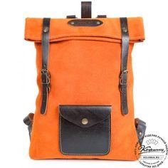 """Кожаный рюкзак """"Vogue"""" (сочный апельсин)"""