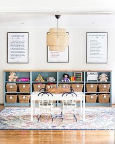 The Best IKEA Items for a Stylish Home on a Budget - Bless'er House - farmhouse playroom design with toy storage, kid room decor, girl room decor, boy room decor - Boys Room Decor, Playroom Decor, Living Room Decor, Playroom Ideas, Children Playroom, Small Playroom, Kids Rooms, Room Kids, Dining Room Playroom Combo